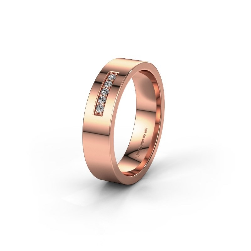 Trouwring WH0111L15AP 585 rosé goud diamant ±5x1.7 mm