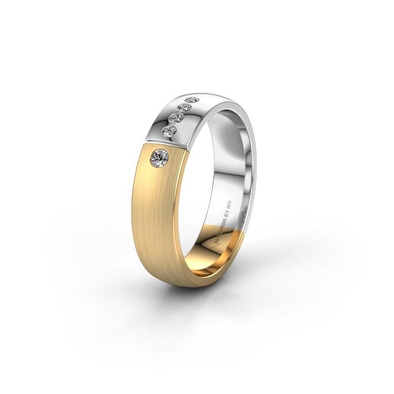 Trouwring WH1101L25SAMP 585 goud diamant ±5x1.7 mm