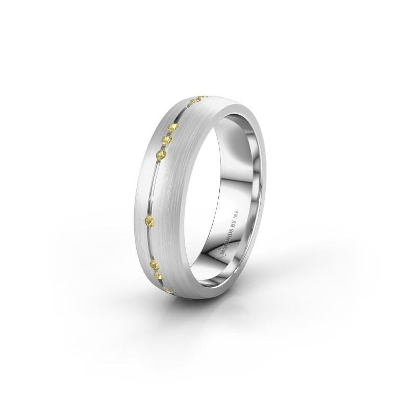 Trouwring WH0166L25A 925 zilver gele saffier ±5x1.7 mm