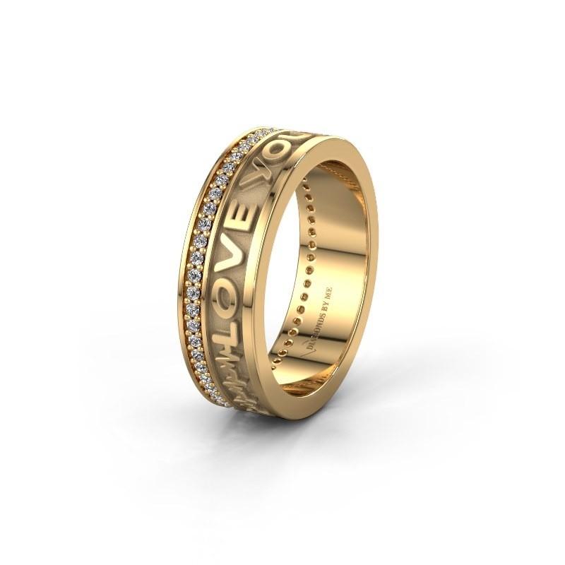 Trouwring namering 3 585 goud ±6x2 mm