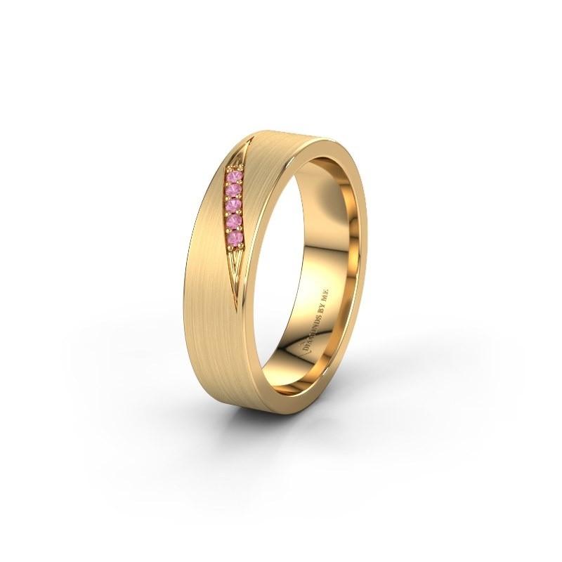 Trouwring WH2148L25AM 375 goud roze saffier ±5x1.7 mm