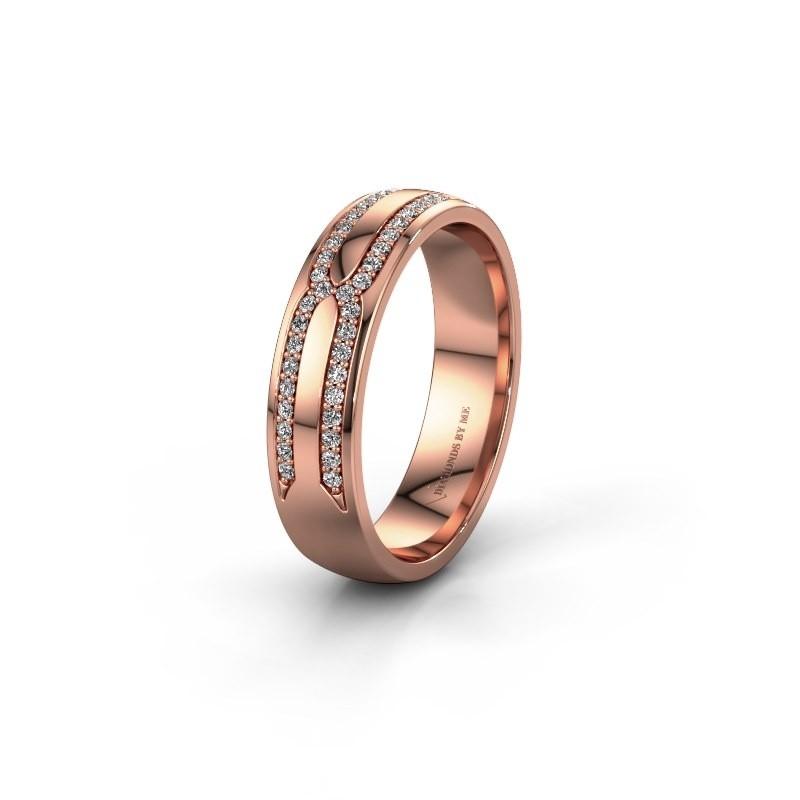 Trouwring WH2212L25AP 585 rosé goud diamant ±5x1.7 mm