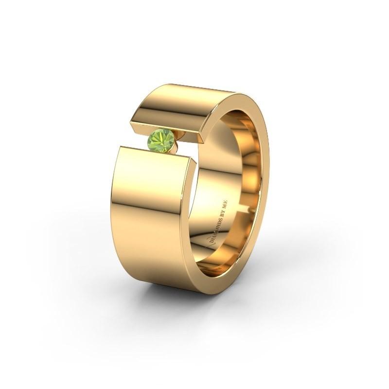 Trouwring WH0146L18BP 375 goud peridoot ±8x2 mm