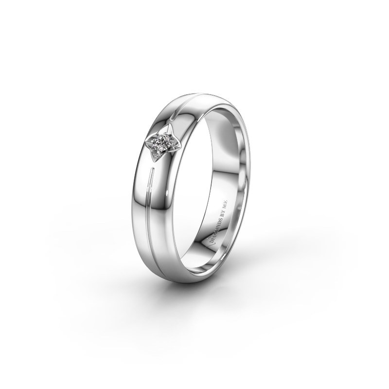 Trouwring WH0221L35X 585 witgoud diamant ±5x1.5 mm