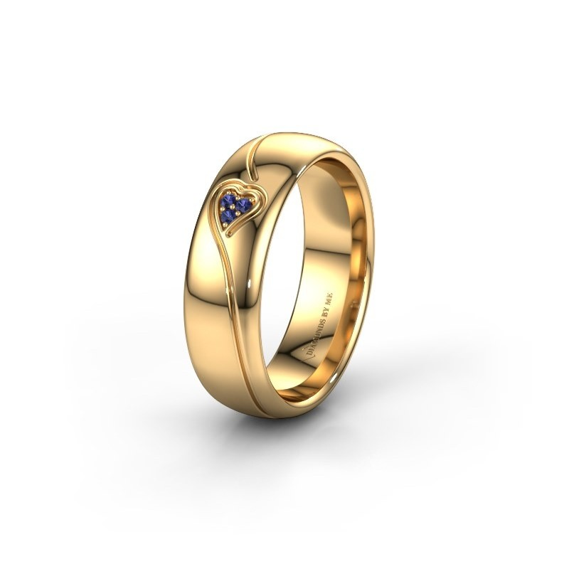 Trouwring WH0168L36AP 375 goud saffier ±6x1.7 mm