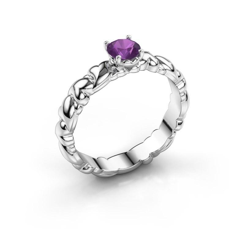 Ring Fabia 585 witgoud amethist 5 mm