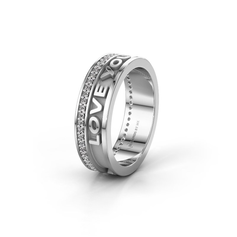 Wedding ring namering 2 375 white gold ±6x2 mm