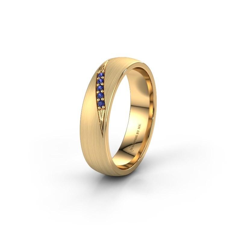 Trouwring WH2150L25AM 375 goud saffier ±5x1.7 mm