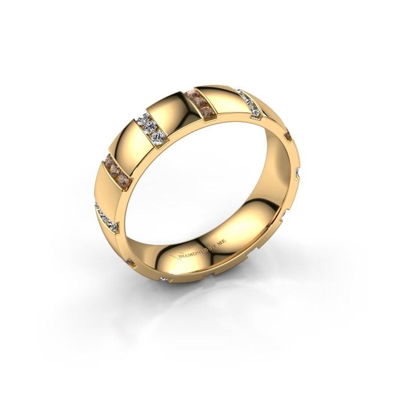 Huwelijksring Juul 375 goud bruine diamant ±5x1.8 mm