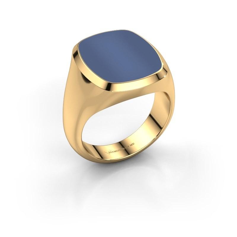 Zegelring Benjamin 4 585 goud blauw lagensteen 17x14 mm