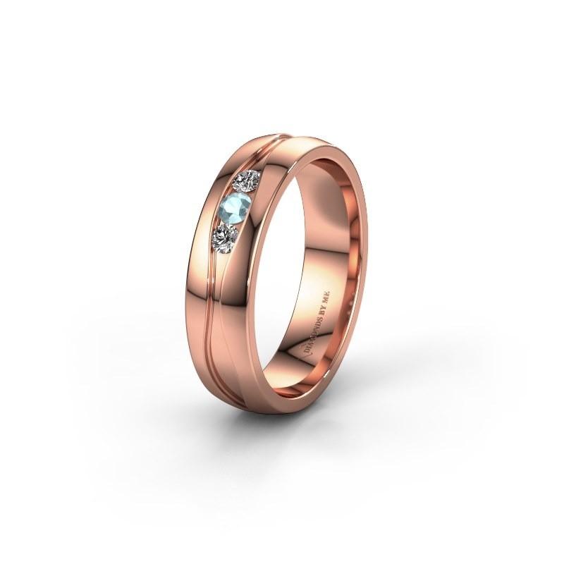 Trouwring WH0172L25A 585 rosé goud aquamarijn ±5x1.7 mm