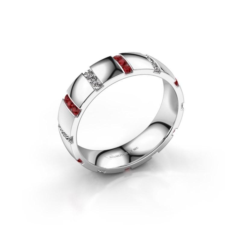 Huwelijksring Juul 925 zilver robijn ±5x1.8 mm