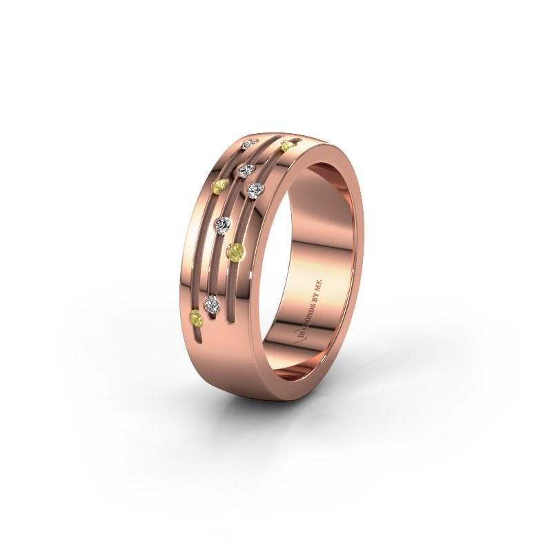 Trouwring WH0134L26B 585 rosé goud gele saffier ±6x2 mm