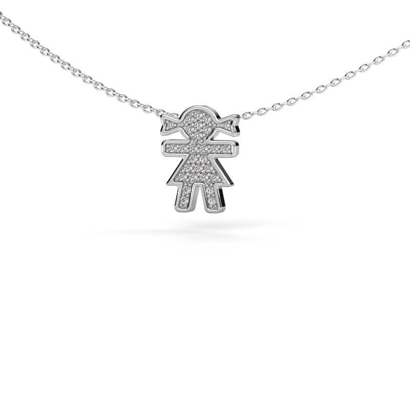Collier Girl 585 witgoud diamant 0.135 crt