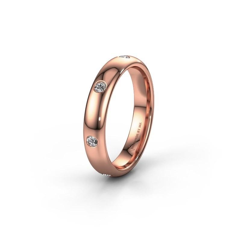 Trouwring WH0105L34BP 585 rosé goud diamant ±4x2 mm