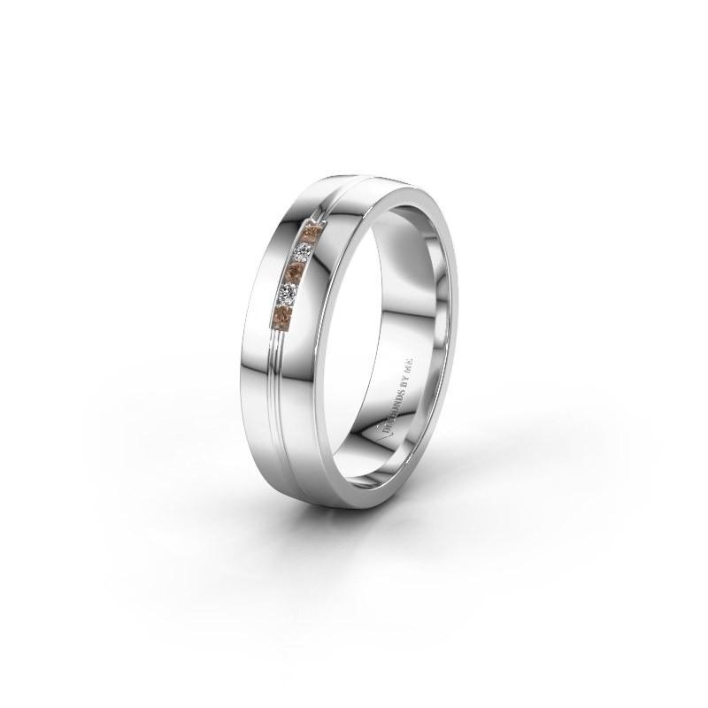 Trouwring WH0132L25B 925 zilver bruine diamant ±5x2 mm