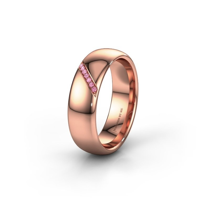 Trouwring WH0164L36B 585 rosé goud roze saffier ±6x2 mm