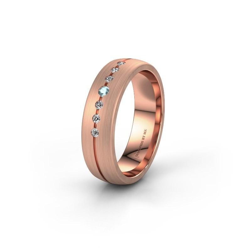 Trouwring WH0162L25A 585 rosé goud aquamarijn ±5x1.7 mm
