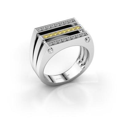 Foto van Heren ring Jauke 950 platina gele saffier 1.7 mm