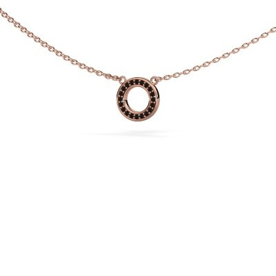 Picture of Pendant Round 2 375 rose gold black diamond 0.06 crt