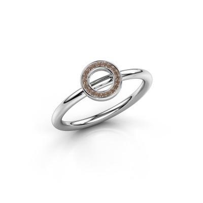 Foto van Ring Shape round small 950 platina bruine diamant 0.05 crt