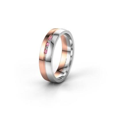 Trouwring WH0132L25B 585 rosé goud roze saffier ±5x2 mm