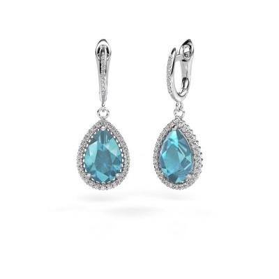 Picture of Drop earrings Hana 2 950 platinum blue topaz 12x8 mm