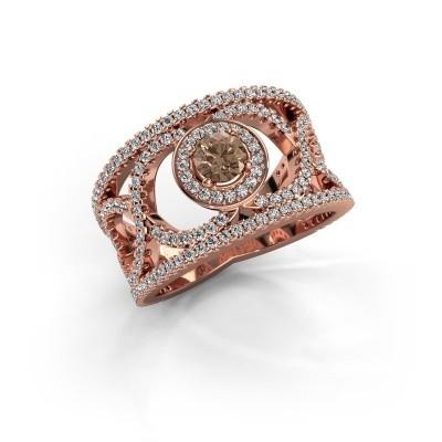 Foto van Ring Regina 375 rosé goud bruine diamant 1.25 crt