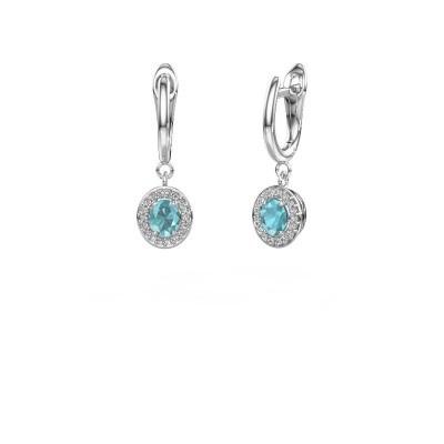 Picture of Drop earrings Nakita 950 platinum blue topaz 5x4 mm