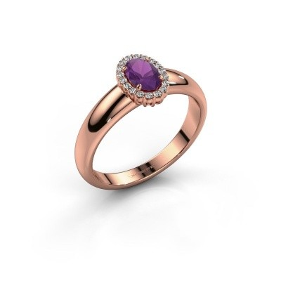 Engagement ring Tamie 585 rose gold amethyst 6x4 mm