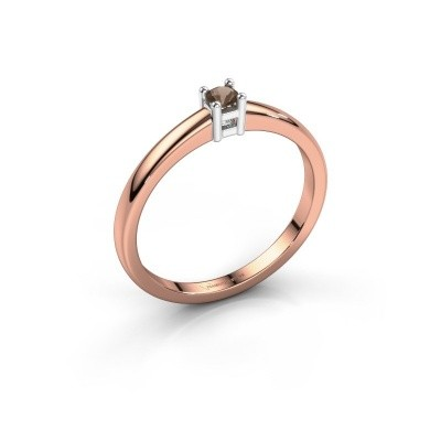 Foto van Promise ring Eline 1 585 rosé goud rookkwarts 3 mm