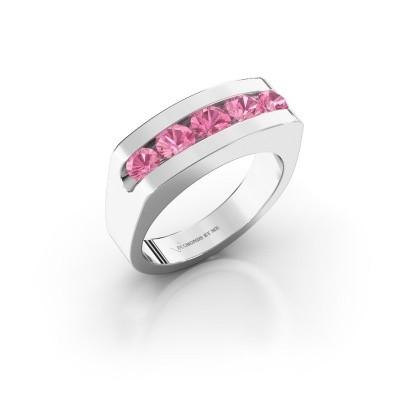 Foto van Heren ring Richard 375 witgoud roze saffier 4 mm