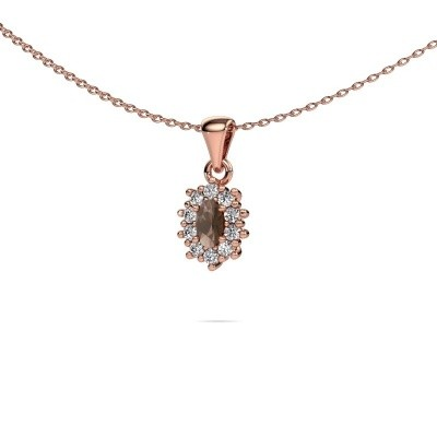Picture of Necklace Leesa 585 rose gold smokey quartz 6x4 mm