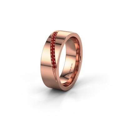 Trouwring WH2146L17A 585 rosé goud robijn ±7x1.7 mm