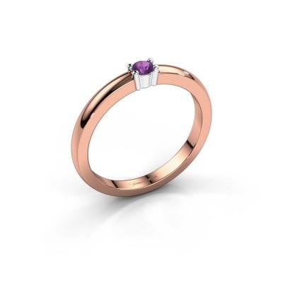 Foto van Promise ring Yasmin 1 585 rosé goud amethist 2.7 mm