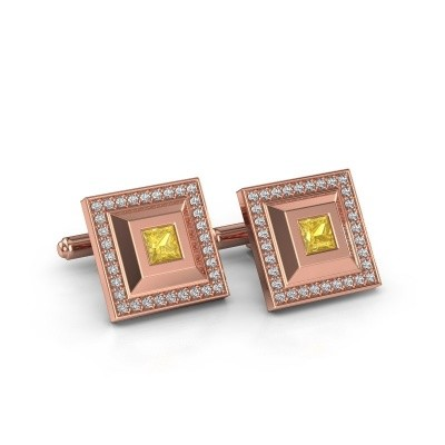 Foto van Manchetknopen Joris 750 rosé goud gele saffier 4 mm