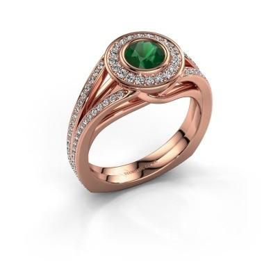 Foto van Ring Kellee 375 rosé goud smaragd 5 mm