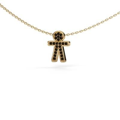 Bild von Anhänger Boy 585 Gold Schwarz Diamant 0.138 crt