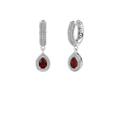 Picture of Drop earrings Barbar 2 375 white gold garnet 6x4 mm