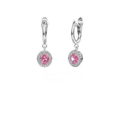 Picture of Drop earrings Nakita 585 white gold pink sapphire 5x4 mm