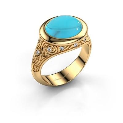 Foto van Ring Natacha 585 goud blauw topaas 12x10 mm