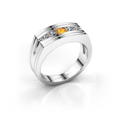 Foto van Heren ring Huub 585 witgoud citrien 3.7 mm