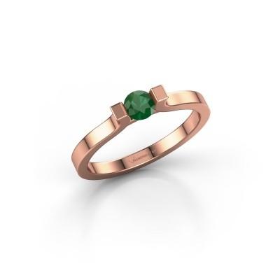 Foto van Verlovingsring Jodee 585 rosé goud smaragd 4 mm