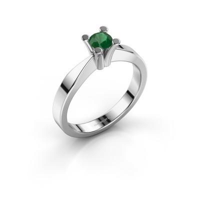 Foto van Verlovingsring Ichelle 1 585 witgoud smaragd 4.2 mm
