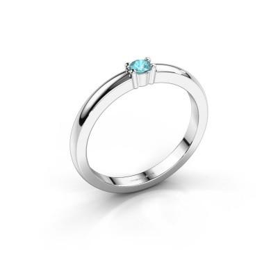 Foto van Promise ring Yasmin 1 950 platina blauw topaas 2.7 mm