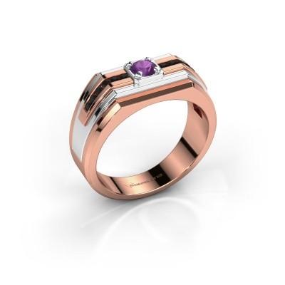 Foto van Heren ring Oliver 585 rosé goud amethist 4 mm