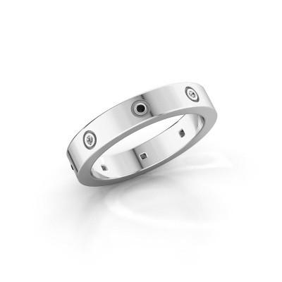 Foto van Ring Carrie 4 925 zilver zwarte diamant 0.059 crt