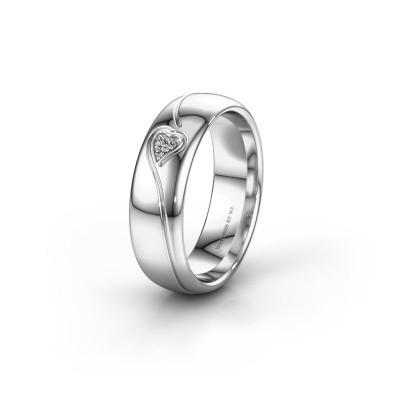 Trouwring WH0168L36AP 950 platina diamant ±6x1.7 mm
