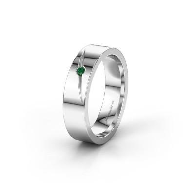 Trouwring WH0170L15A 925 zilver smaragd ±5x1.7 mm