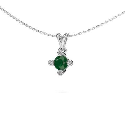 Foto van Hanger Cornelia Round 925 zilver smaragd 5.5 mm